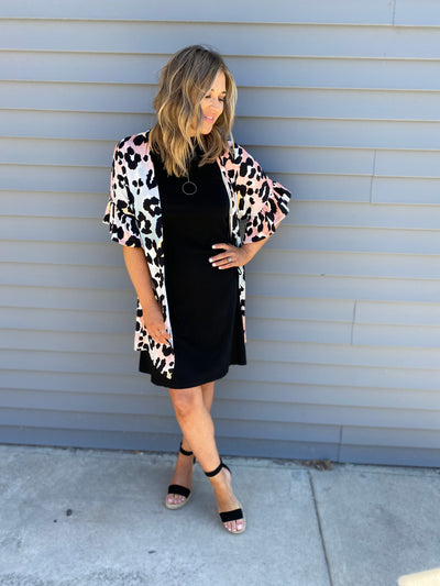Blush/Blue/Leopard Cardigan