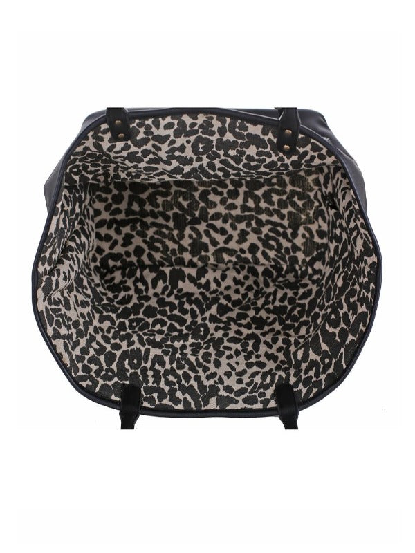 Reversible Tote with Canvas Leopard Interior