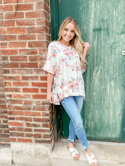 Jo Ivory/Coral Floral Top