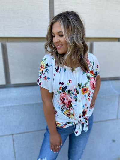 Ivory Floral Button Down Top