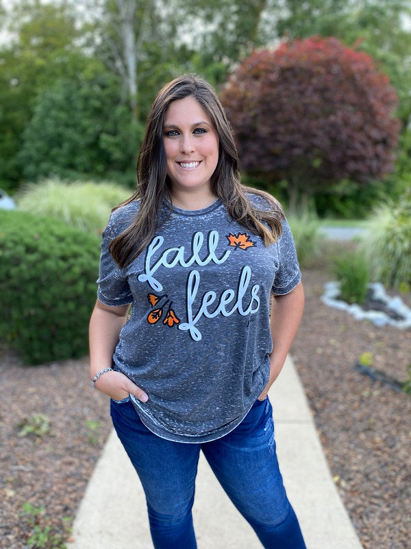 Grey Vintage Fall Feels Graphic Tee