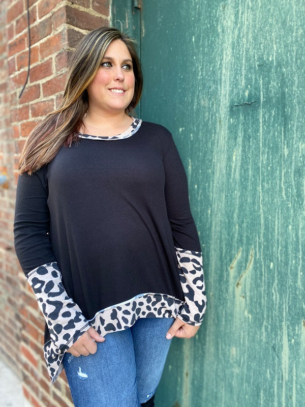Black Cheetah Print Top
