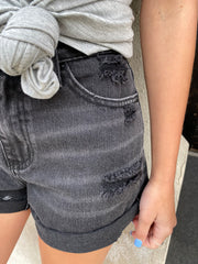 Mia KanCan Black Frayed Hem Distressed Shorts