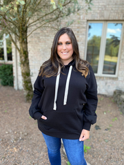Black Plus Size Loose Fit Tunic Hoodie