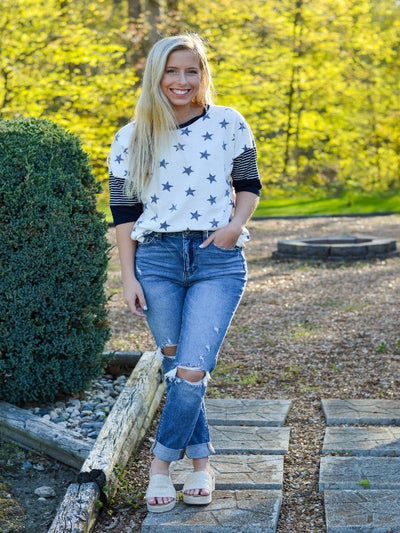 Ivory/Navy Star Top