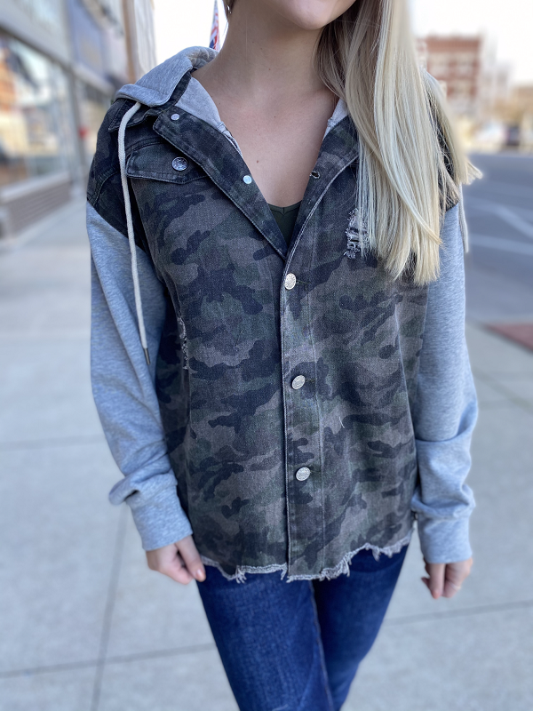 Delta Camo/Grey Destressed Jacket