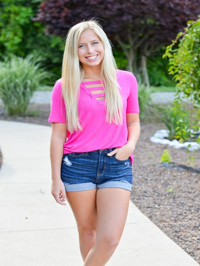 Fuchsia V-Neck Top With Strapped Neck Detail