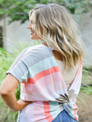 Multi Color Stripe with Boat Neck Top