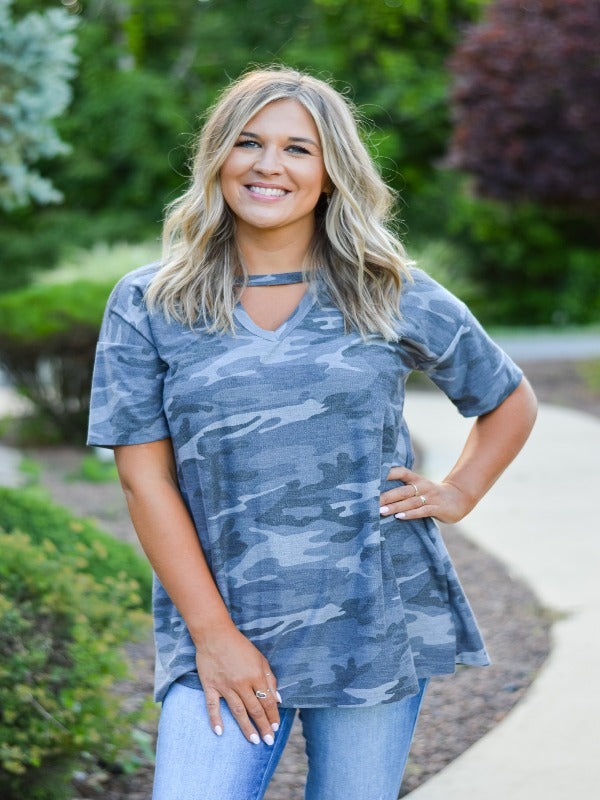Plus Size Charcoal Camo Top