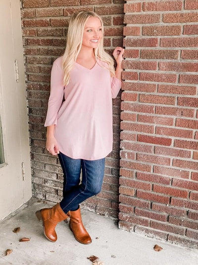 Dusty Pink 3/4 Sleeve V-Neck Top