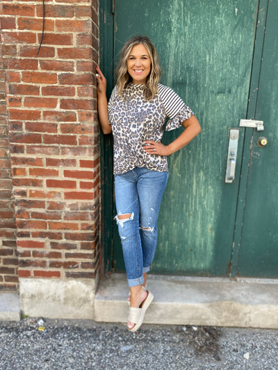 Taupe Leopard Stripe Top
