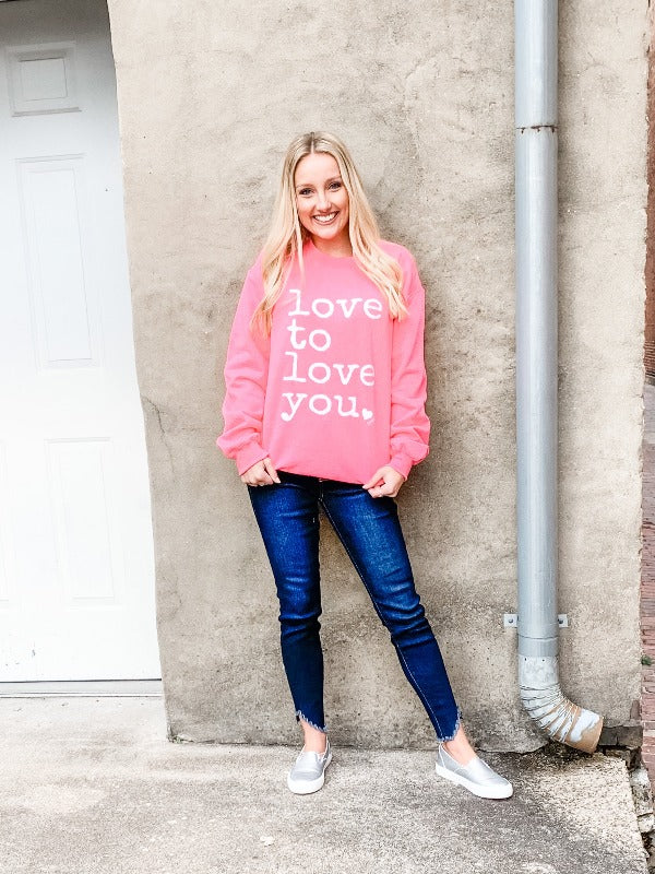 Neon Pink Love to Love Sweatshirt