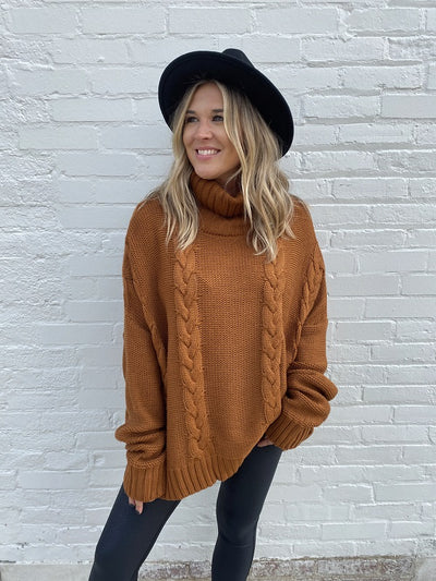 Greta Mocha Turtle Neck Sweater