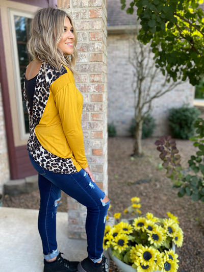 Mustard Long Sleeve Top with Leopard Trimmed