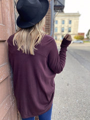Plum Slouchy V Neck Sweater