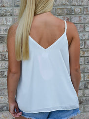 White Embroidery Lace Tank