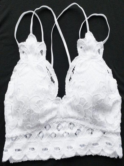 White Adjustable Crochet Lace Bralette 14987