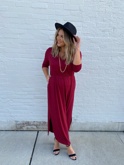 Alma Burgundy Wrap Maxi Dress