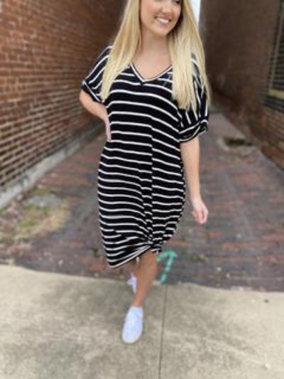 Annabelle Black/Ivory Stripe V-Neck Dress