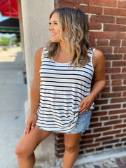 Ivory Black Striped Tank