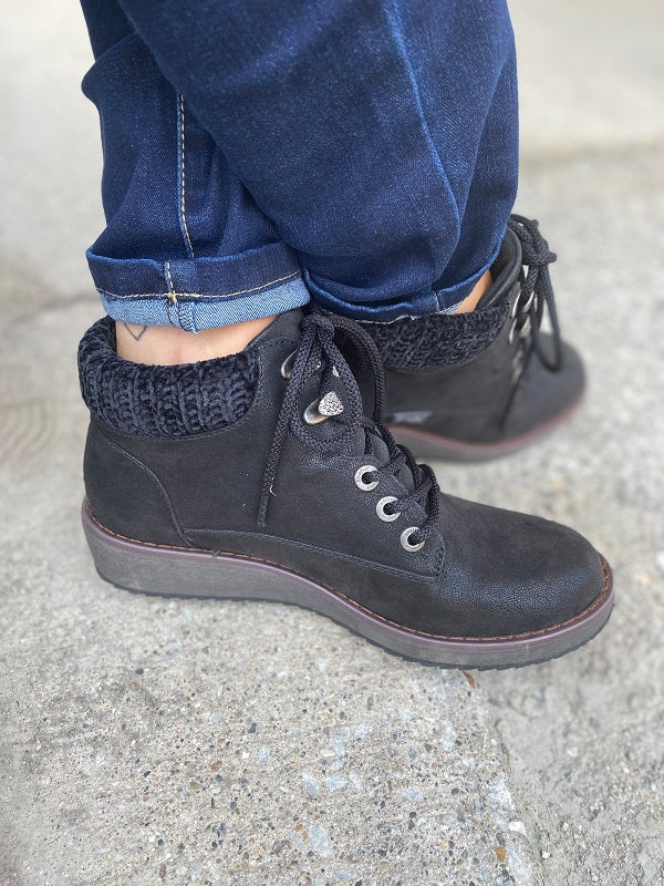 Prudence Blowfish Black Wedge Booties