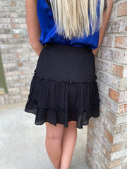 Black Gauze Tiered Mini Skirt