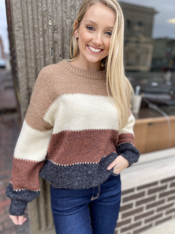 Camellia Beige Color Block Sweater