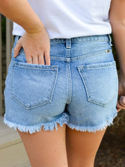 Medium Wash Distressed High Rise Shorts