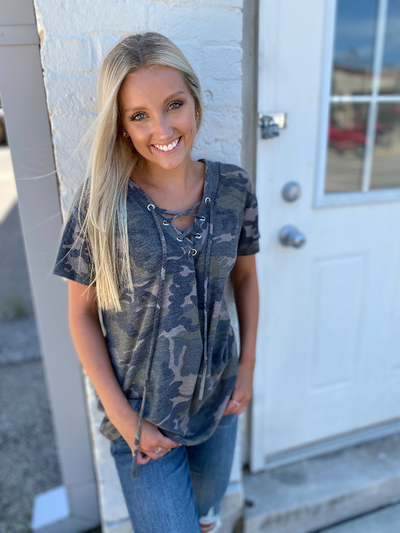 Camo French Terry V-Neck Top