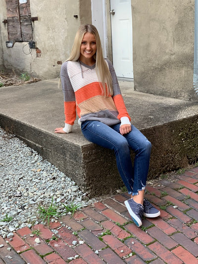 Grey Hooded Color Block Sweater