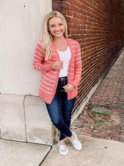 Georgia Deep Coral/Ivory Striped Snap Cardigan