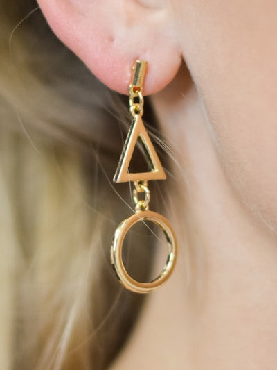 Gold Triangle Circle Dangle