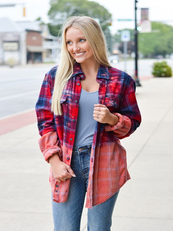 Red/Blue Bleached Flannel
