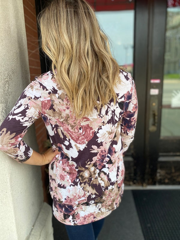 Plum Floral Tunic Top