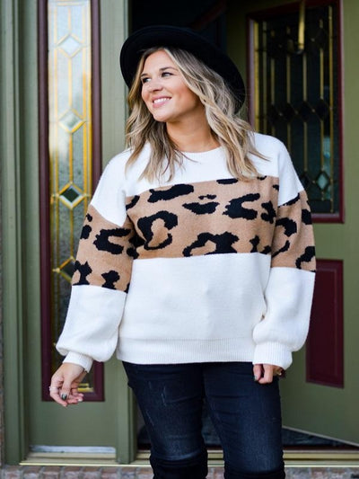 Ivory Sweater with Leopard Color Block