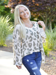 Olive Leopard Summer Sweater