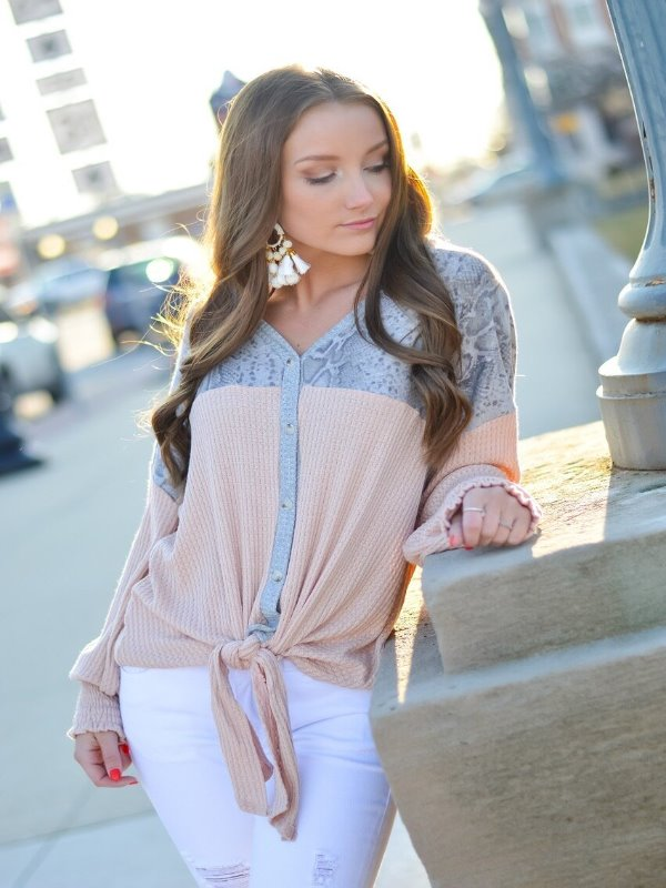 Peach and Grey Snake Print Waffle Knit top