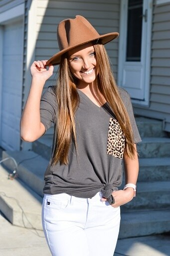 Grey Top with Leopard Pocket 16284