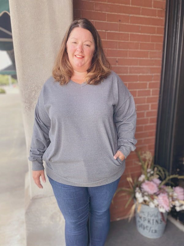 Mid Grey Plus Size V-Neck Sweatshirt