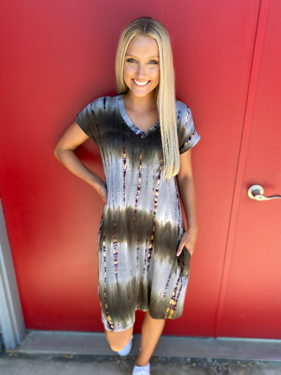 Olive Tie Dye Short Sleeve V-Neck Dress