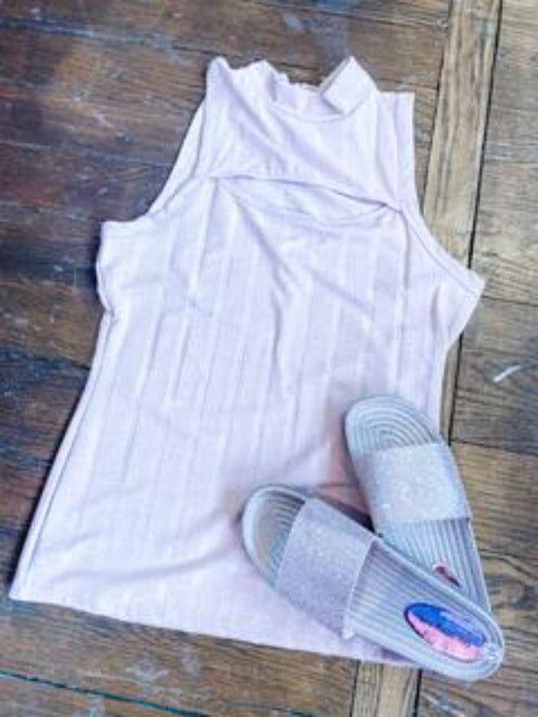 Haven Pale Mauve Sleeveless Mock Neck Top
