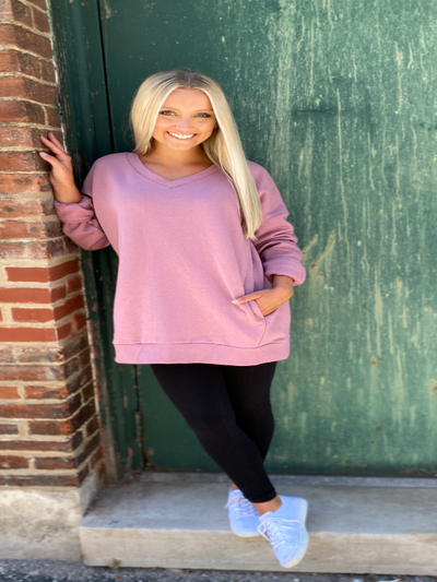 Lt Rose Long Sleeve V-Neck Sweatshirt