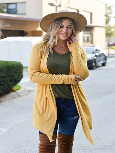 Lt Mustard Long Sleeve Cardigan