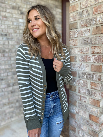 Lt Olive/Ivory Striped Snap Cardigan