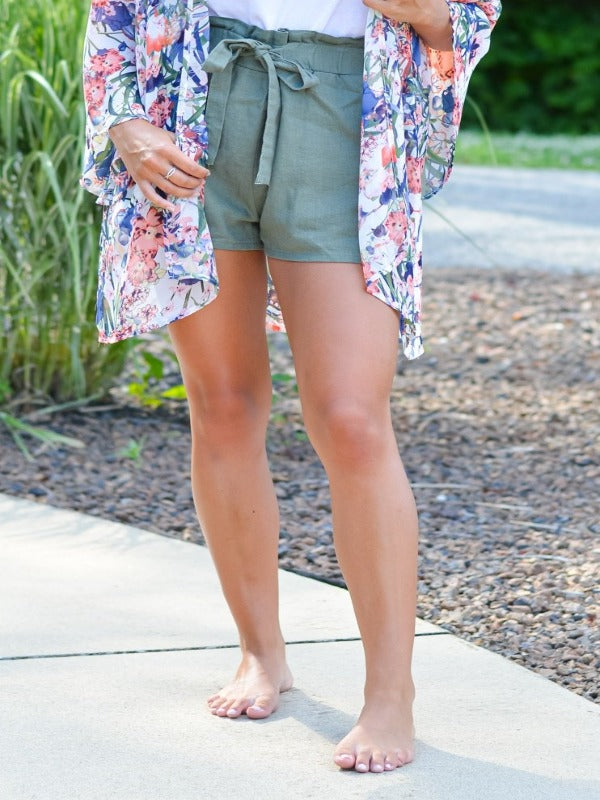 Olive High Waisted Front Tie Short