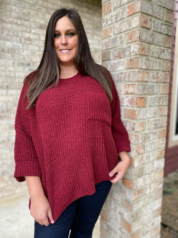 Burgundy Plus Size Wide Sleeve Sweater