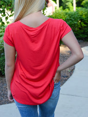 Red Basic Pocket Tee