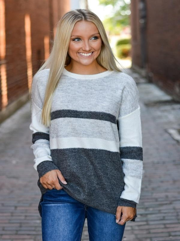Ivory Grey Colorblock Sweater