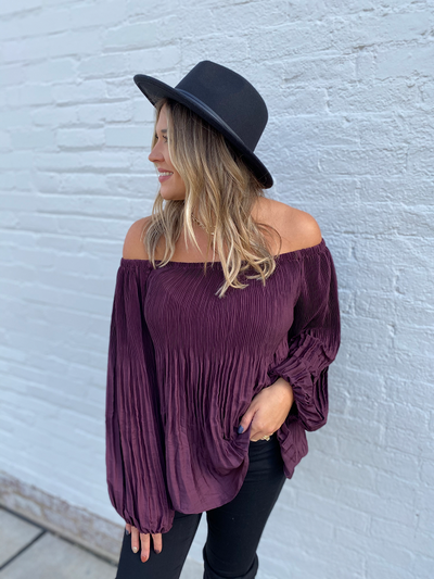 Wine Long Sleeve  Off the Shoulder Top