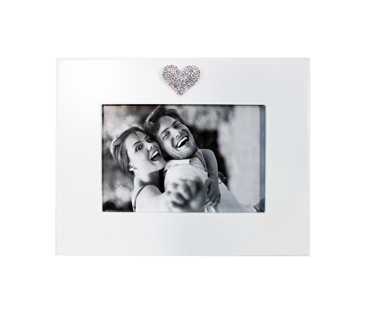 Wooden frame with Rhinestone Heart